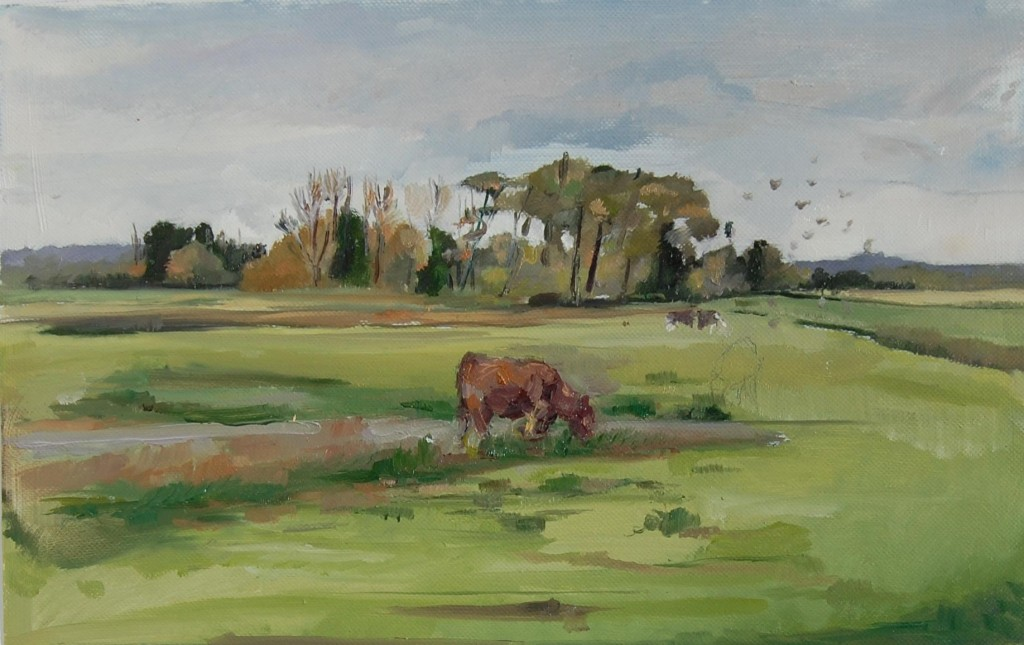 Cow Drinking at Radford Meadows by Lisa Oakley